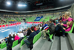 Arena during handball match between RK Krim Mercator and Gyori Audi ETO KC (HUN) in 3rd Round of Group B of EHF Women's Champions League 2012/13 on October 28, 2012 in Arena Stozice, Ljubljana, Slovenia. Gyori defeated Krim Mercator 31-20. (Photo By Vid Ponikvar / Sportida)