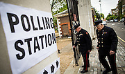 UNITED KINGDOM, London: 7 May 2015,  Chelsea Pensioners arrive to Vote at a polling station in Chelsea to cast there vote for the 2015 Election, London, England. Andrew Cowie / Story Picture Agency