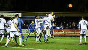 Chelsea head clear the danger during the FA Youth Cup match between U18 AFC Wimbledon and U18 Chelsea at the Cherry Red Records Stadium, Kingston, England on 9 February 2016. Photo by Michael Hulf.
