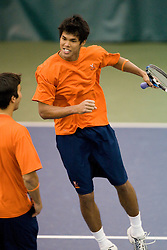 #1 nationally ranked Somdev Devvarman (Virginia) celebrates after winning the #1 doubles match.  The #1 nationally ranked men's doubles team of Somdev Devvarman and Trent Huey defeated #33 ranked Alex Cojanu/Keziel Juneau 8-6.    The #1 ranked Virginia Cavaliers men's tennis team faced the #43 ranked William and Mary Tribeat the Boyd Tinsley Courts at the Boars Head Inn in Charlottesville, VA on January 20, 2008.