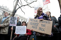 © licensed to London News Pictures. London, UK 17/03/2012. Protesters are at the UK Uncut demonstration against the Government's Health and Social Care Bill currently passing through Parliament, outside Department of Health, London. Photo credit: Tolga Akmen/LNP