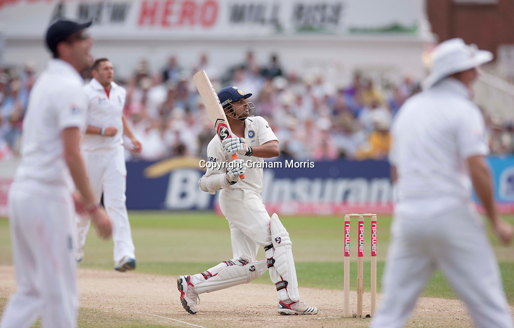 Suresh Raina hooks Tim Bresnan and is caught during the second npower Test Match between England and India at Trent Bridge, Nottingham.  Photo: Graham Morris (Tel: +44(0)20 8969 4192 Email: sales@cricketpix.com) 01/08/11