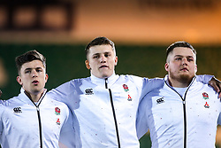 Kieran Wilkinson, Olly Adkins and Alfie Petch of England U20 - Mandatory by-line: Robbie Stephenson/JMP - 15/03/2019 - RUGBY - Franklin's Gardens - Northampton, England - England U20 v Scotland U20 - Six Nations U20