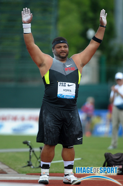 Jun 2, 2012; Eugene, OR, USA; Reese Hoffa (USA) celebrates after winning the shot put at 71-6 3/4 (21.81m) at the 2012 Prefontaine Classic at Hayward Field.
