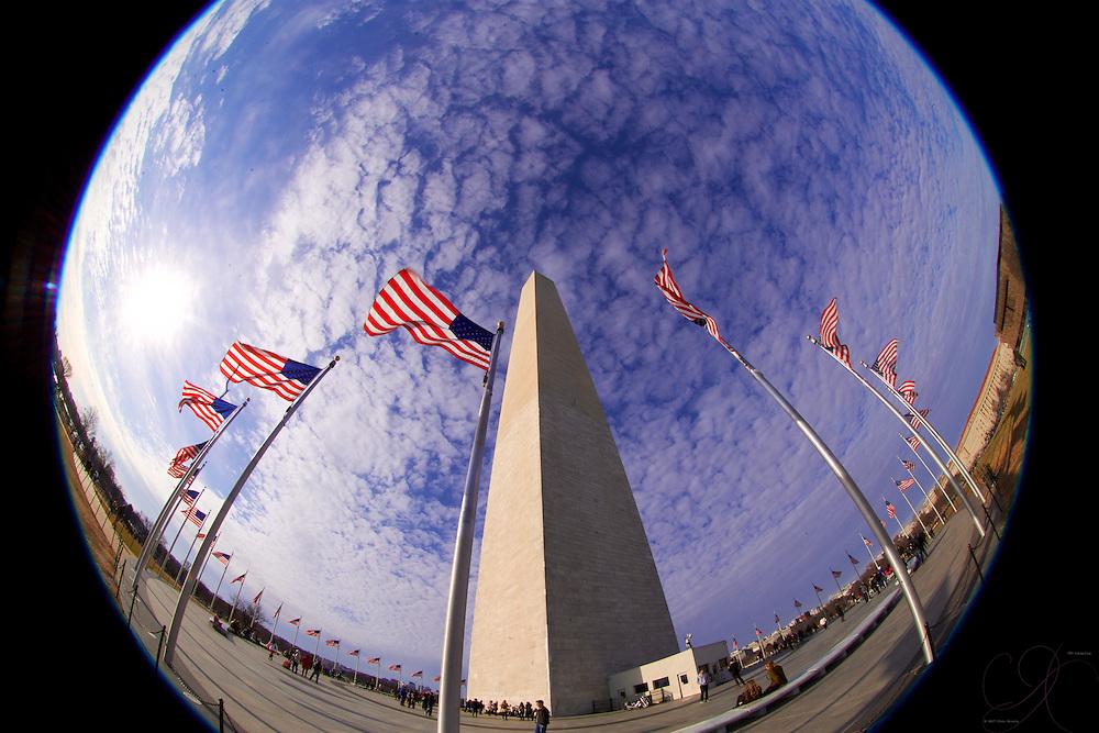 Flags proudly flying around the base of the Washington Monument