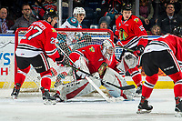 KELOWNA, CANADA - MARCH 3:  Shane Farkas #1 of the Portland Winterhawks defends the net against the Kelowna Rockets on March 3, 2019 at Prospera Place in Kelowna, British Columbia, Canada.  (Photo by Marissa Baecker/Shoot the Breeze)