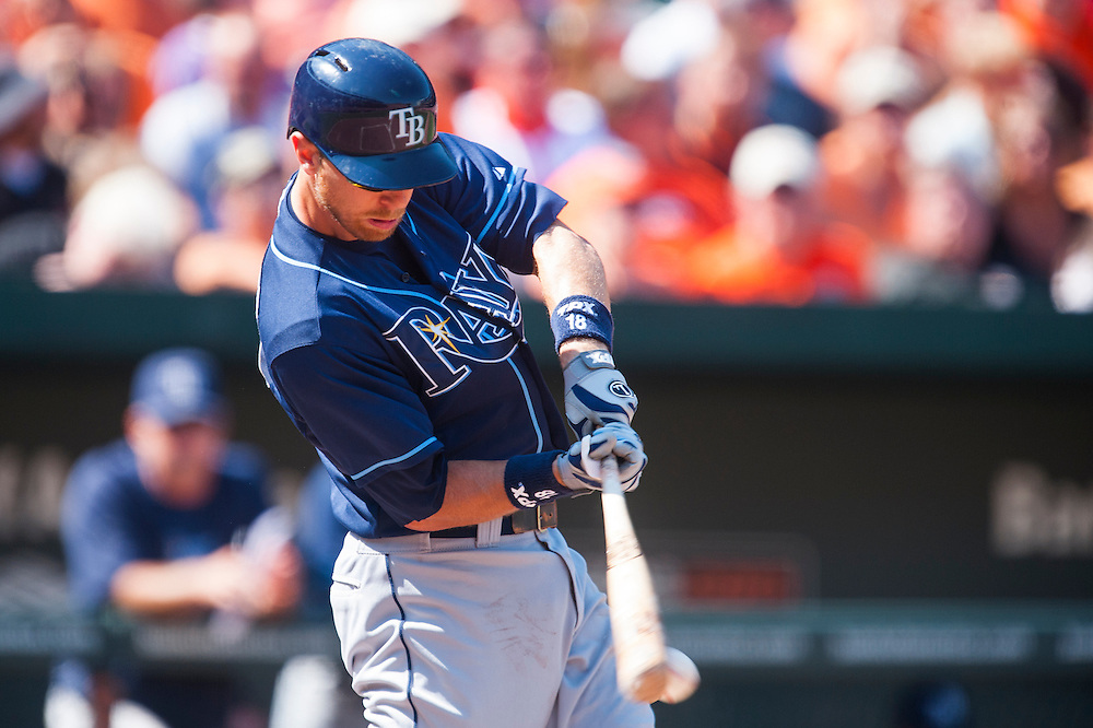 BALTIMORE, MD - SEPTEMBER 13: Ben Zobrist #18 of the Tampa Bay Rays bats during the game against the Baltimore Orioles at Oriole Park at Camden Yards on September 13, 2012 in Baltimore, Maryland. (Photo by Rob Tringali) *** Local Caption *** Ben Zobrist