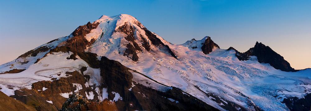 Alpine Ridge; Baker; Glacier; Mount; Mountain; Mt. Baker; North Cascades; Pacific NW; WA; Alpenglow, Sunset, Wilderness, Washington State