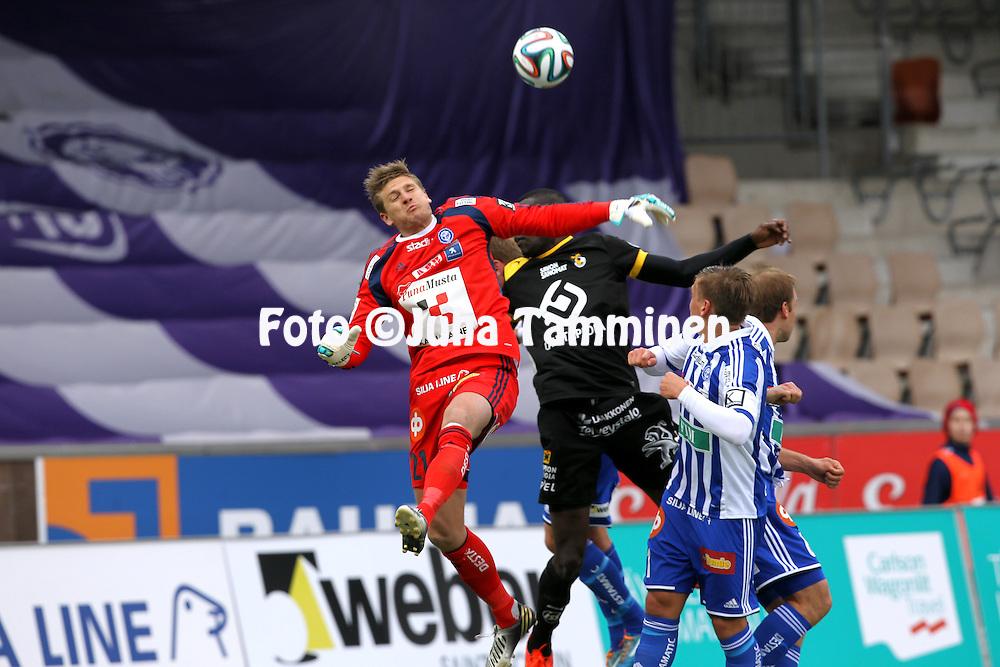 12.4.2014, Sonera stadion, Helsinki.<br /> Veikkausliiga 2014.<br /> Helsingin Jalkapalloklubi - Kuopion Palloseura.<br /> Michael T&oslash;rnes - HJK