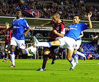 Photo: Dave Linney.<br />Birmingham City v Shrewsbury Town. Carling Cup. 22/08/2006.Shrewsbury's Richard Hope(C) is challenged by   Stephen Kelly