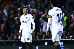 February 28, 2019 - Valencia, Spain - Rodrigo Moreno of Valencia CF celebrate after scoring the 1-0 goal During Spanish King La Copa match between  Valencia cf vs Real Betis Balompie Second leg  at Mestalla Stadium on February 28, 2019. (Photo by Jose Miguel Fernandez/NurPhoto) (Credit Image: © Jose Miguel Fernandez/NurPhoto via ZUMA Press)