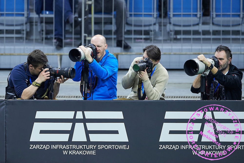 (L-R) Photographer Maciej Gilert (Epoka Agency) and Tomasz Markowski (Przeglad Sportowy Daily) and Michal Klag and Artur Kraszewski (Art Press Photo Agency) during First Day of the Fed Cup / World Group 1st round tennis match between Poland and Russia at Tauron Krakow Arena on February 7, 2015 in Cracow, Poland.<br /> <br /> Poland, Cracow, February 7, 2015<br /> <br /> Picture also available in RAW (NEF) or TIFF format on special request.<br /> <br /> For editorial use only. Any commercial or promotional use requires permission.<br /> <br /> Adam Nurkiewicz declares that he has no rights to the image of people at the photographs of his authorship.<br /> <br /> Mandatory credit:<br /> Photo by &copy; Adam Nurkiewicz / Mediasport