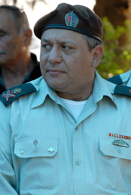 The head of the northern Israeli command, Major-General Gadi Eisenkot, attends the funeral of Lieutenant Colonel Dov Harari, 45, who was killed the day before during clashes with Lebanese troops along Iseal-Lebanon border, at the coastal city of Netanya on August 04, 2010. Photo by Gili Yaari