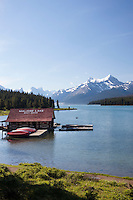 Maligne Lake Boat House, Jasper National Park, Alberta, Canada