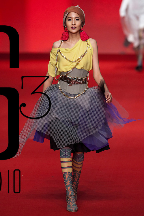 HONG KONG - JANUARY 20:  A model displays a creation of Vivienne Westwood Spring-Summer 2010 collection on the catwalk during the  Hong Kong Fashion Week Fall/Winter 2010 on January 20, 2010 in Hong Kong.  Photo by Victor Fraile / studioEAST