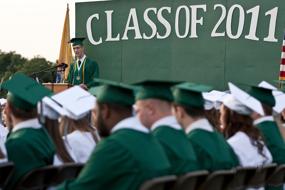 Valedictorian Joshua Jackson gives his Commencement Address during Graduation.