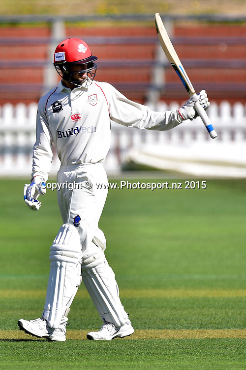 Chad Bowes of Canterbury celebrates 50 runs during the Plunket Shield cricket match between the Wellington Firebirds and Canterbury at the Basin Reserve in Wellington on Wednesday the 30th March 2016. Copyright Photo by Marty Melville / www.Photosport.nz