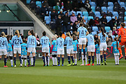 Manchester City Women line up with the mascots during the FA Women's Super League match between Manchester City Women and Brighton and Hove Albion Women at the Sport City Academy Stadium, Manchester, United Kingdom on 27 January 2019.