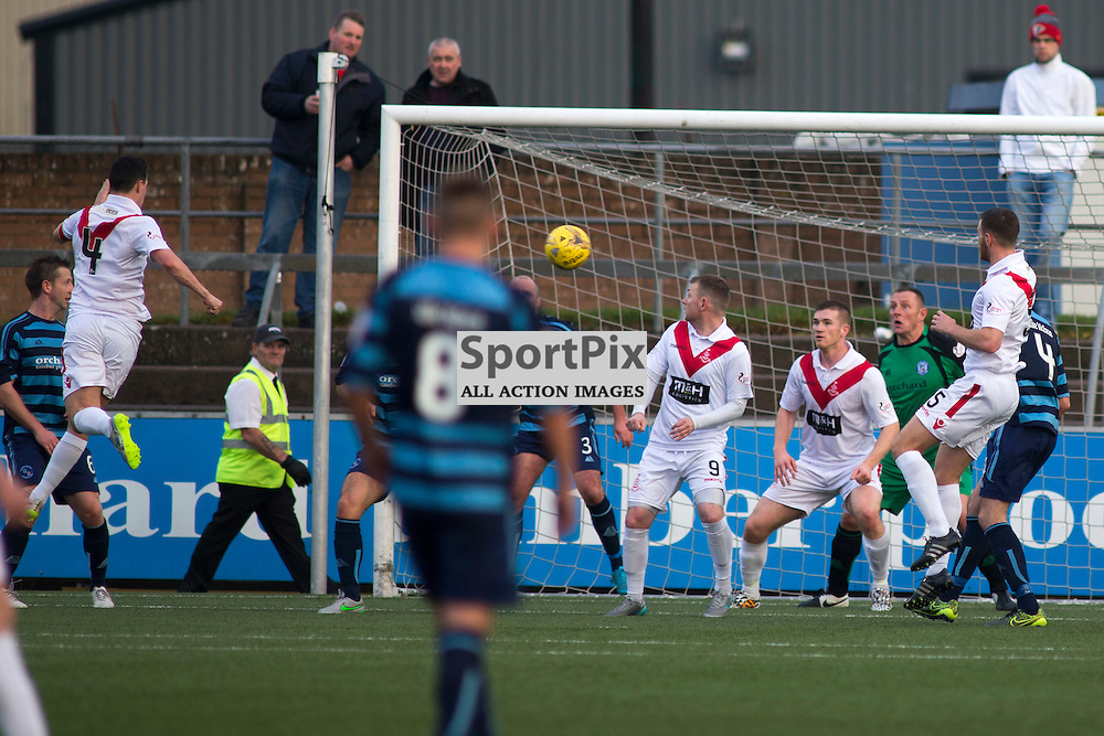 Mark Fitzpatrick (Airdrie 4) Scores a goal in the Forfar Athletic v Airdrie Station Park, Forfar, 07 November 2015<br />