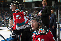 KELOWNA, CANADA - OCTOBER 25: Tyson Baillie #24 of Kelowna Rockets sits on the bench against the Brandon Wheat Kings on October 25, 2014 at Prospera Place in Kelowna, British Columbia, Canada.  (Photo by Marissa Baecker/Shoot the Breeze)  *** Local Caption *** Tyson Baillie;