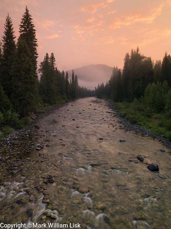 Smoke from a near by fire settles into the Clearwater National Forest,Crooked Fork, near LoLo Pass.
