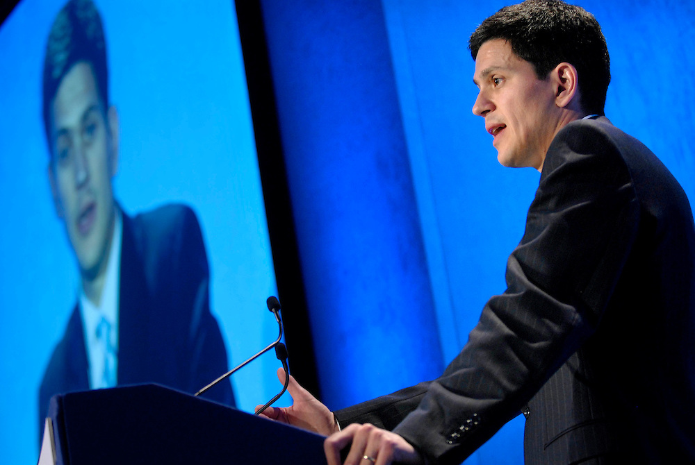 UK. London. Country Land and Business Association (CLA) Centenary Conference at the QEII centre, Westminster..The Rt Hon David Miliband MP speaks at the conference..