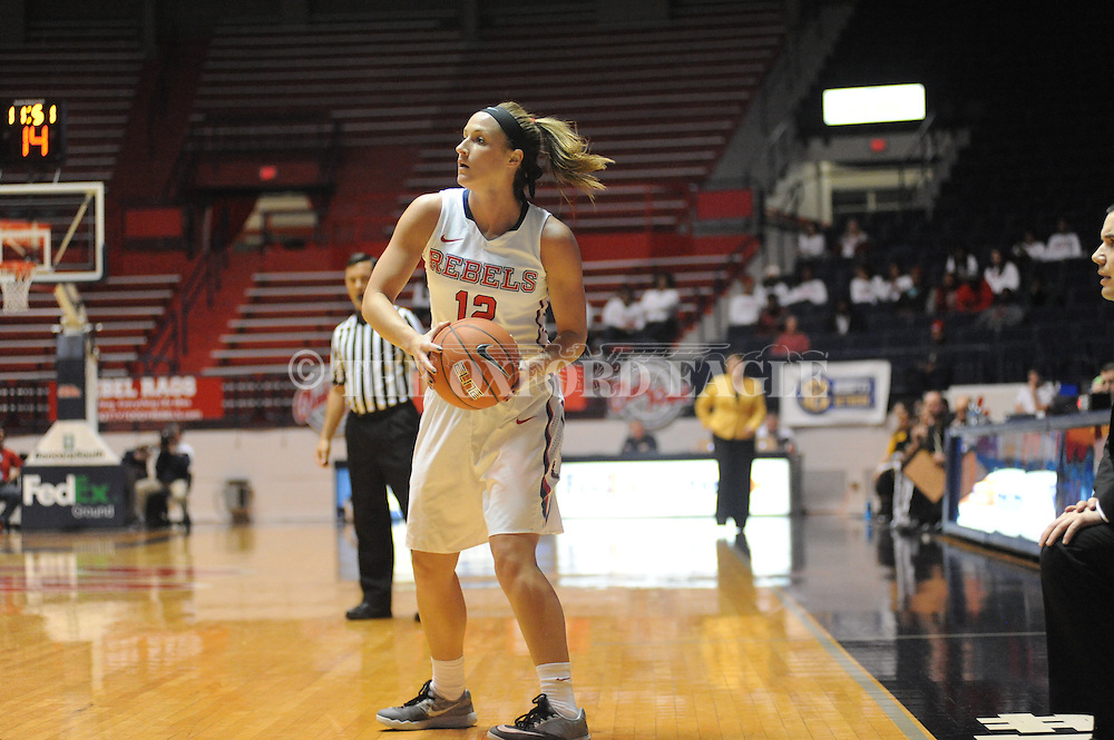"Ole Miss Lady Rebels guard Gracie Frizzell (12) vs. Southern Mississippi at the C.M. ""Tad"" Smith Coliseum in Oxford, Miss. on Thursday, December 18, 2014. (AP Photo/Oxford Eagle, Bruce Newman)"