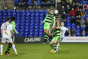 Forest Green Rovers Charlie Cooper(20) heads the ball clear during the Vanarama National League match between Tranmere Rovers and Forest Green Rovers at Prenton Park, Birkenhead, England on 11 April 2017. Photo by Shane Healey.