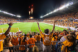 Houston Dynamos soccer team score goal at BBVA Stadium in Houston, Texas