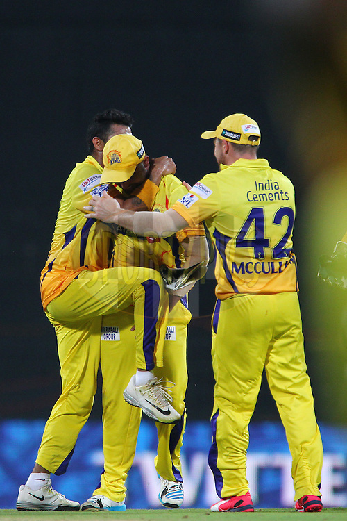 Chennai celebrate the wicket of David Miller of Kings XI Punjab  during match 24 of the Pepsi IPL 2015 (Indian Premier League) between The Chennai Superkings and The Kings XI Punjab held at the M. A. Chidambaram Stadium, Chennai Stadium in Chennai, India on the 25th April 2015.<br /> <br /> Photo by:  Ron Gaunt / SPORTZPICS / IPL