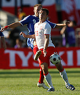 CHORZOW 01/06/2008.POLAND v DENMARK.INTERNATIONAL FRIENDLY.DANNIS ROMMEDAHL OF DENMARK AND MAREK SAGANOWSKI OF POLAND ..FOT. PIOTR HAWALEJ / WROFOTO