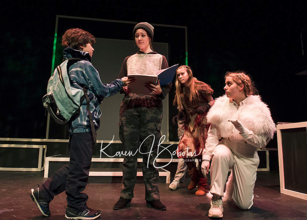"Santiago McCulloch as Eric, Maggie A. Godsoe as Carter, Sophie Pankhurst as Colleen and Christa Walker as Jimmy during dress rehearsal for ""Boy Who Drew Cats"" at the Winnipesaukee Playhouse on Wednesday evening.  (Karen Bobotas/for the Laconia Daily Sun)"