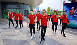 NANNING, CHINA - Wednesday, March 21, 2018: Wales' Declan John, Connor Roberts, Billy Bodin and Tom Lockyer during a team walk near the Wanda Realm Resort ahead of the 2018 Gree China Cup International Football Championship. (Pic by David Rawcliffe/Propaganda)