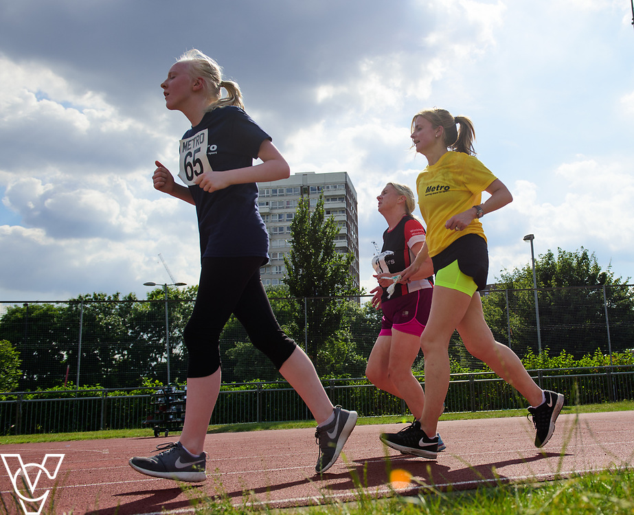 Metro Blind Sport's 2017 Athletics Open held at Mile End Stadium.  5000m.  Emma Quigley, left, and Lynn Cox with guide runner<br /> <br /> Picture: Chris Vaughan Photography for Metro Blind Sport<br /> Date: June 17, 2017