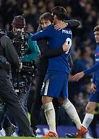 Football - 2017 / 2018 Premier League - Chelsea vs Manchester United<br /> <br /> Antonio Conte, Manager of Chelsea FC, congratulates Alvaro Morata (Chelsea FC)  at the end of the game at Stamford Bridge <br /> <br /> COLORSPORT/DANIEL BEARHAM