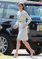 The Duchess of Cambridge attends the wedding of Emily McCorquodale to James Hutt at the Church of St Andrew and St Mary, Stoke Rochford, Lincolnshire, UK, on the 9th June 2012.<br /> <br /> PICTURE BY JAMES WHATLING