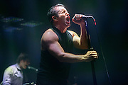 Trent Reznor and NIN performing on the Tension Tour 2013 at the Chaifetz Arena in Saint Louis, MO on October 1, 2013.