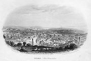 Truro, from Trennick Lane', 1860. The Cornwall Railway, later part of the Great Western Railway (GWR), at Truro, showing one of Isambard Kingdom Brunel's (1806-1859) timber viaducts, built from Kyanzed yellow Baltic pine from Memel. The timberwork had a life of 30 years. Illustration by George Townsend (1818-1894) for 'Views of Devonshire and Cornwall' by Henry Besley, (Exeter c1860). Engraving.