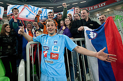 Fans of Slovenia celebrate with Uros Zorman after winning the handball match between National teams of Slovenia and Poland of Qualification Group 3 for Men's EURO 2012, on March 9, 2011 in Arena Stozice, Ljubljana, Slovenia. Slovenia defeated Poland 30-28. (Photo By Vid Ponikvar / Sportida.com)