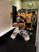 2011/03/12 - The American International College Men's Hockey team waits to enter Ritter Arena for the third period of game 2 of the Atlantic Hockey quarterfinals. RIT defeated AIC 5-1 to sweep the three-game series.