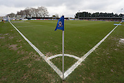 Corner flag and the Cherry Red Records stadium ahead of the Sky Bet League 2 match between AFC Wimbledon and Luton Town at the Cherry Red Records Stadium, Kingston, England on 13 February 2016. Photo by David Vokes.