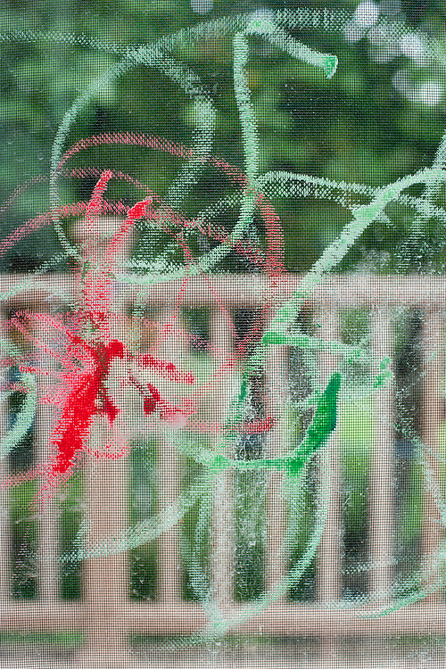 The creative chalk drawing of Holden Miller, 3, is pictured on a screen door at the Miller/Stute home in Madison, Wis., on July 24, 2010.