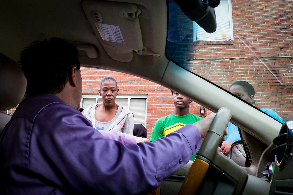 Mayor, Richard Lattanzi, speaks to residents of a neighborhood housing low-income residents and senior citizens in Clairton, Pa.<br /> <br /> When the Clairton Coke Works employed 5,000 workers and ran three shifts, Clairton had three movie theaters and four car dealerships. Now the plant employs 1,300 workers and residents must drive five miles out of town to buy food since there is no longer a grocery store in town.