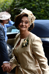 Former Prime Minister Tony Blair's Son Euan Blair Wedding to Suzanne Ashman at All Saints Church in  Wotton Underwood, United Kingdom. Saturday, 14th September 2013. Picture by Ben Stevens / i-Images<br /> <br /> Pictured is Cherie Blair arriving at All Saints Church.