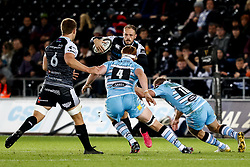 2nd November, Liberty Stadium , Swansea, Wales ; Guinness pro 14's Ospreys Rugby v Glasgow Warriors ;  Cory Allen of Ospreys under pressure from Rob Harley of Glasgow Warriors<br /> <br /> Credit: Simon King/News Images<br /> <br /> Photographer Simon King/Replay Images<br /> <br /> Guinness PRO14 Round 8 - Ospreys v Glasgow Warriors - Friday 2nd November 2018 - Liberty Stadium - Swansea<br /> <br /> World Copyright © Replay Images . All rights reserved. info@replayimages.co.uk - http://replayimages.co.uk