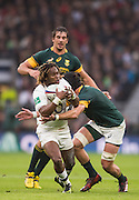 Twickenham, United Kingdom.  Marland YARDE, starts to loose his grip of the ball, from the tackle by Warren WHITELEY, Old Mutual Wealth Series match: England vs South Africa, at the RFU Stadium, Twickenham, England, Saturday, 12.11.2016<br /> <br /> [Mandatory Credit; Peter Spurrier/Intersport-images]