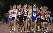 Mar 25, 2017;  Azusa, CA, USA; Hunter Clark of Dos Pueblos (649), Colby Corcoran of St. John Bosco (2094), Jake Lange of Nueva (1662) and Steven Khan of Ayala (259) lead the 3,200m during the 26th Meet of Champions Distance Classic at Azusa Pacific University.