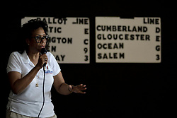 Tanzie Youngblood speaks to campaign volunteers at a Get Out To Vote event at Villa Fazzolari in Buena, NJ, on May 26, 2018. (Bastiaan Slabbers/ for WHYY)