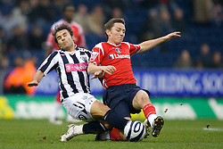 WEST BROMWICH, ENGLAND - Saturday, December 15, 2007: Charlton's Matthew Holland in action against West Bromwich Albion's Filipe Teixeira during the League Championship match at the Hawthorns. (Photo by David Rawcliffe/Propaganda)