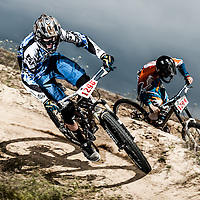 Dual slalom bicycle racing at the Eagle Bike Park.